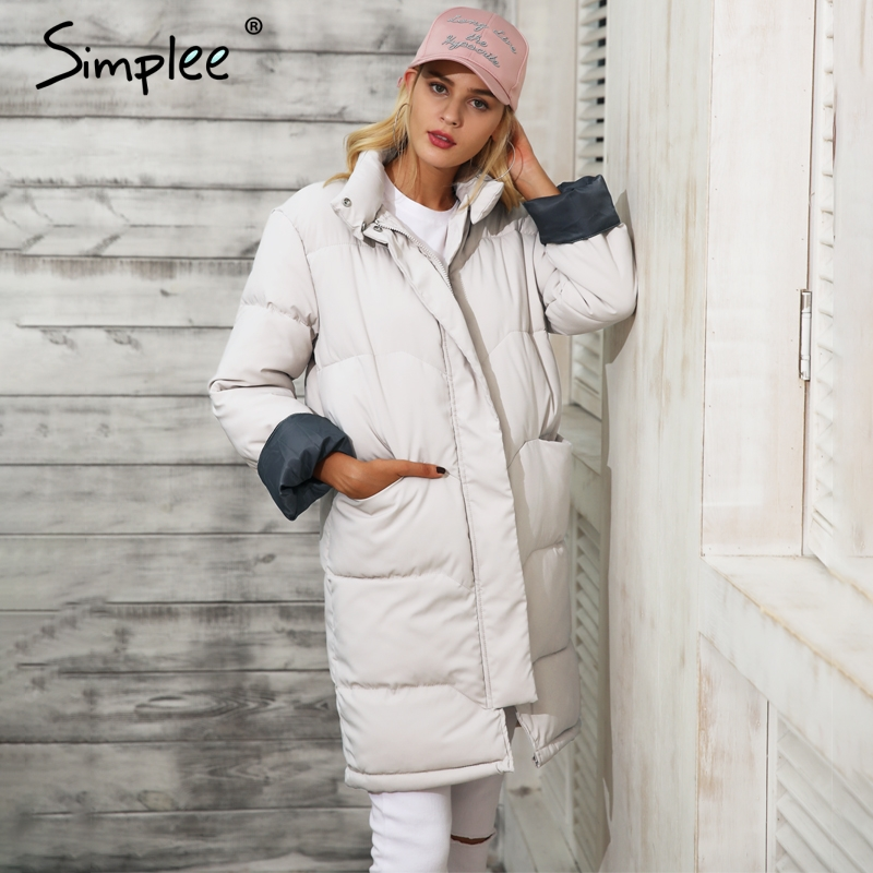 Simplee Cotton padded warm black parka Women jacket zipper pocket outerwear parkas 2017 Autumn winter casual overcoat female