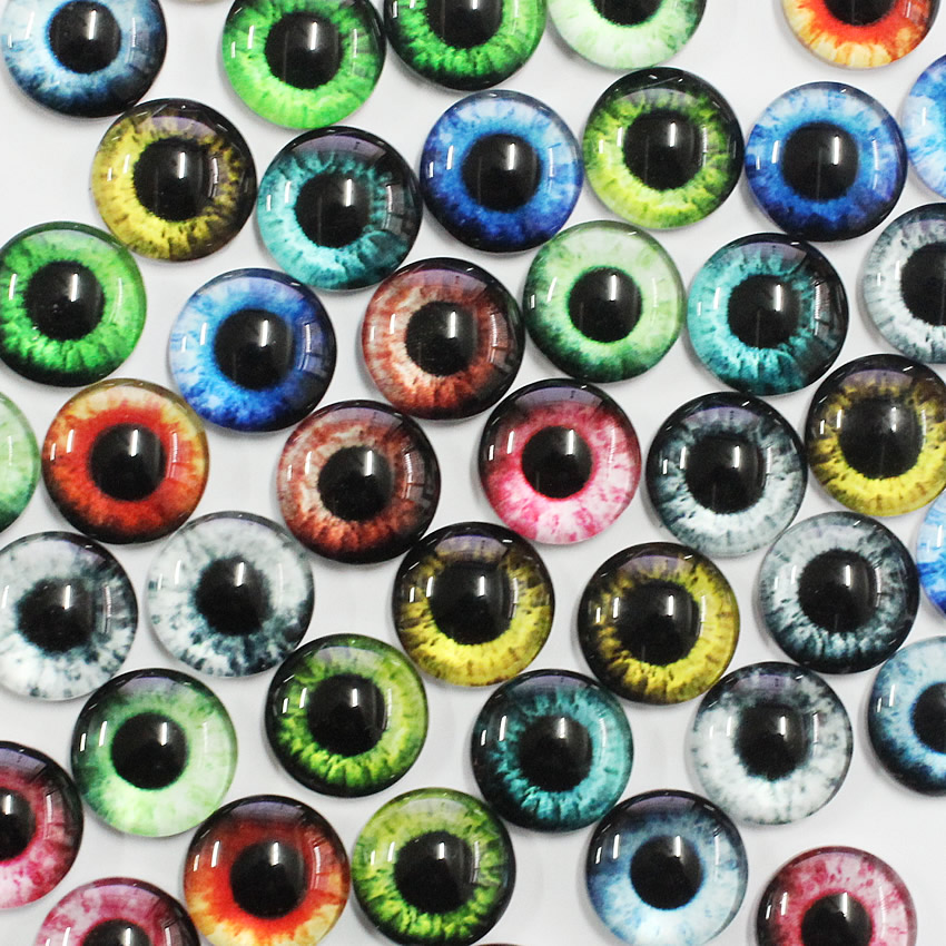 10mm  Dragon Eyes Round Glass Cabochon Flatback Photo Jewelry Finding Cameo Pendant Settings  In Pairs 50pcs/lot K05364