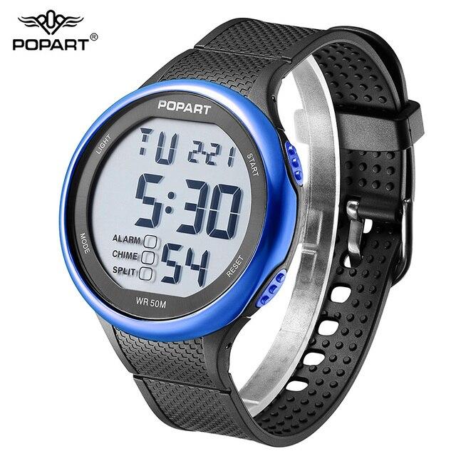 Попарт Цифровые наручные часы Часы Для мужчин Элитный бренд хронограф сигнализации черный мужской часы Роскошные Для мужчин S Спорт Часы Для мужчин Водонепроницаемый