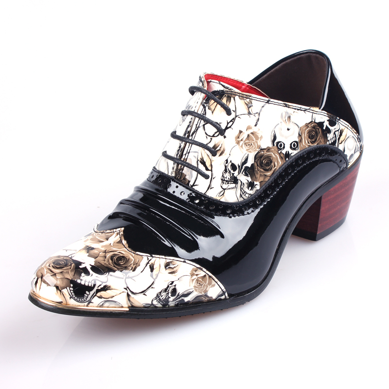 Vintage Punk Style Skull Print Mens Shoes Imitation Leather Men Dress Shoes Top Quality Oxford Shoes for Men свитшот print bar hardcore punk skull