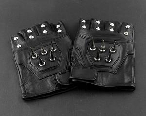 Image 4 - Gants sans doigts pour motocycliste, en cuir pour hommes, Punk, à pic