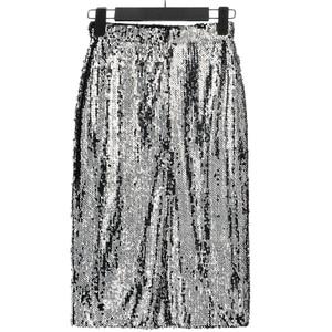 Image 3 - Shiny Stretchy High Waist Gold Black Silver Women Sequin Pencil Skirt Jupe Falda Saia Long Sexy Club Party Bodycon Midi Skirt