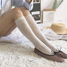 Sweet Lolita Lace Socks Women Fishnet High Knee Thin Transparent Long Pantyhose Leg Stocking Elastic