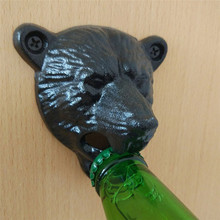 Black Grizzly Bear Beer Bottle Opener Cast Iron Lodge Cabin Wall Mounted Pub Bar Abridor Para Regalar Keychain