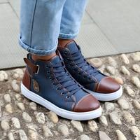 Hot Men Shoes PU Leather 2016 Autumn Winter Men High Top Casual Canvas Shoes Sapatos Man