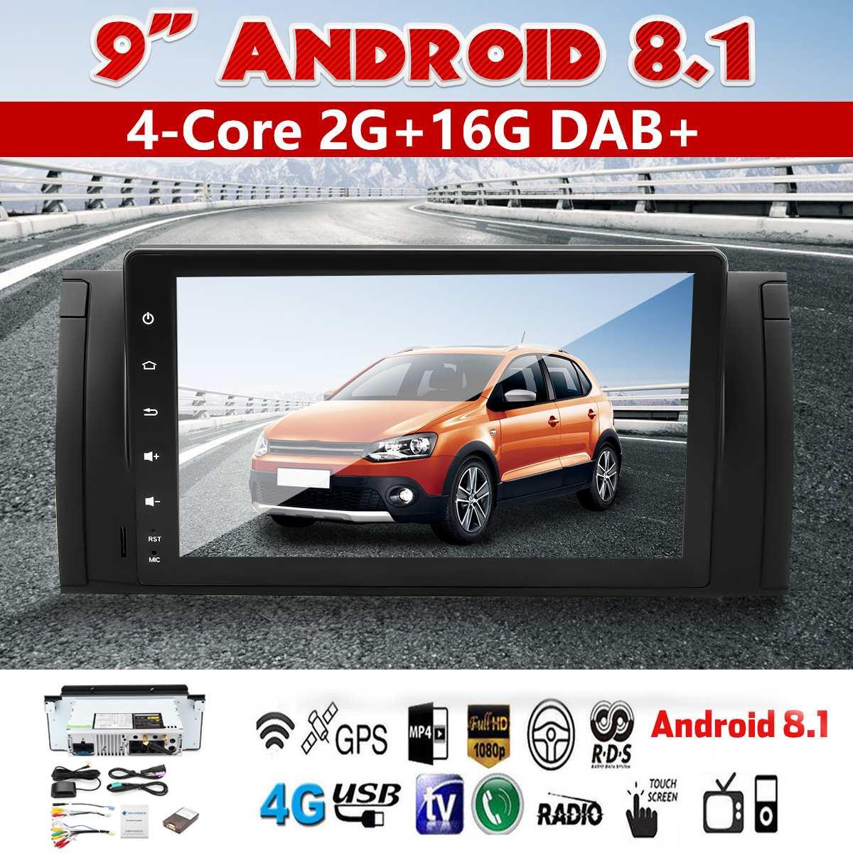 Lecteur multimédia 9 pouces Android 8.1 3G 4G bluetooth voiture Dash vidéo GPS stéréo Radio Wifi MP5 lecteur pour BMW E39 X5 E53