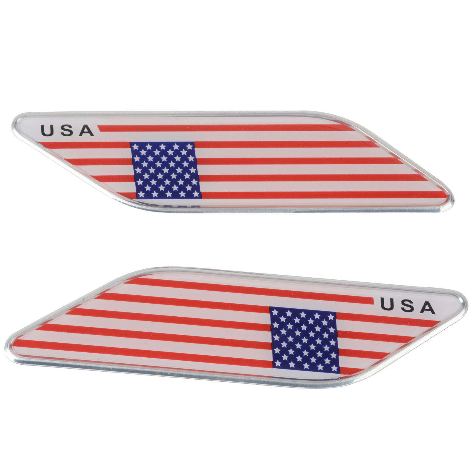 MAYITR 2pcs Metal American USA Flag Car Side Fender Skirt Emblem Badge Sticker Decal For Car Universal Use