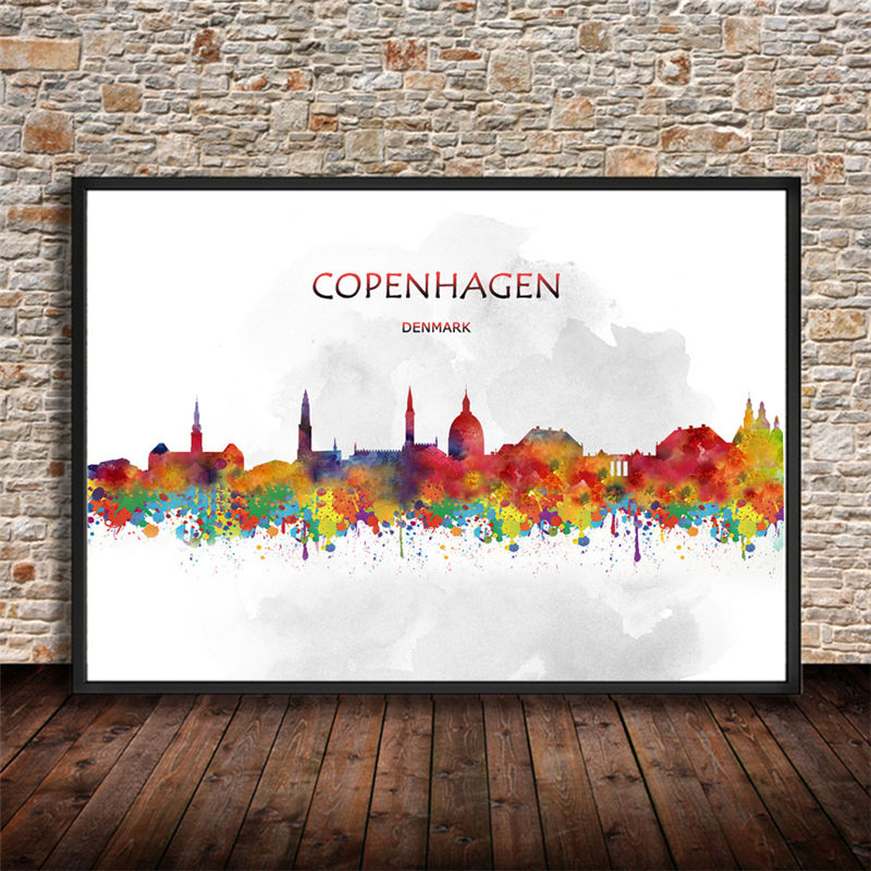 Online Shop Abstract City Painting CHICAGO USA Printings Watercolor Art Print Poster Wall Sticker Living Room Cafe Bar Home Decor 42x30cm
