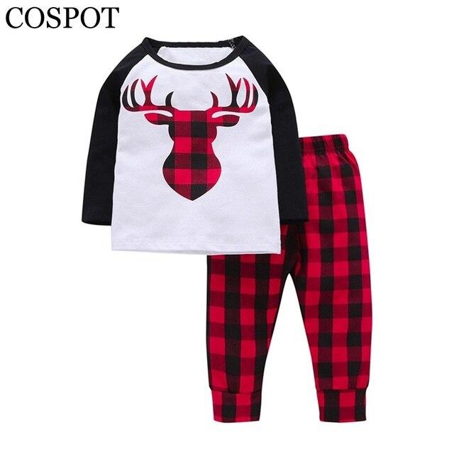 3946a938a11a Baby Girls Christmas Clothing Set Boys 2Pcs Suit T Shirt+Pants Boy ...