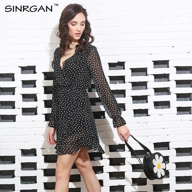 Polkadot Print Irregular Bow Wrap Short Dress 1