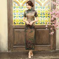 Vintage Çin kadın Uzun Cheongsam Yenilik İpek Saten Qipao Elbise çiçek Klasik Vestido Boyutu Sml XL XXL XXXL 1275891