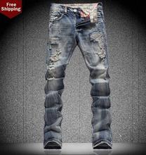 Осень англия ретро отверстие патч мужские джинсы джинсовые брюки тонкий прямой персонализированные люксовый бренд моды эластичные брюки