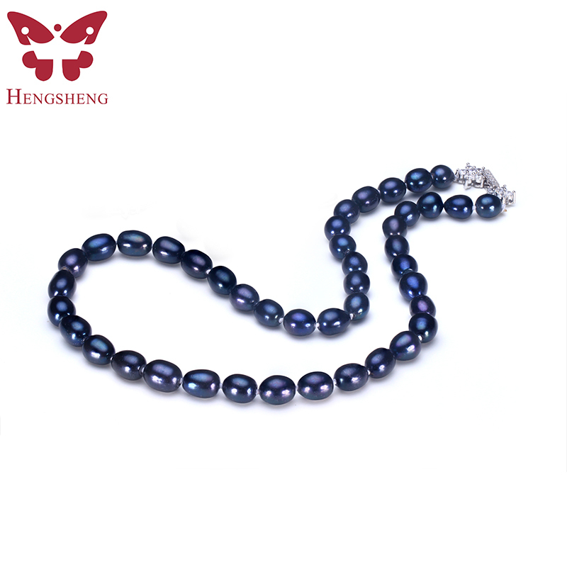 2017 New Natural Black Pearl Jewelry Necklace,Real Freshwater 8-9 mm Pearl With Star Buckle Women Necklace,Fashion Jewelry Box