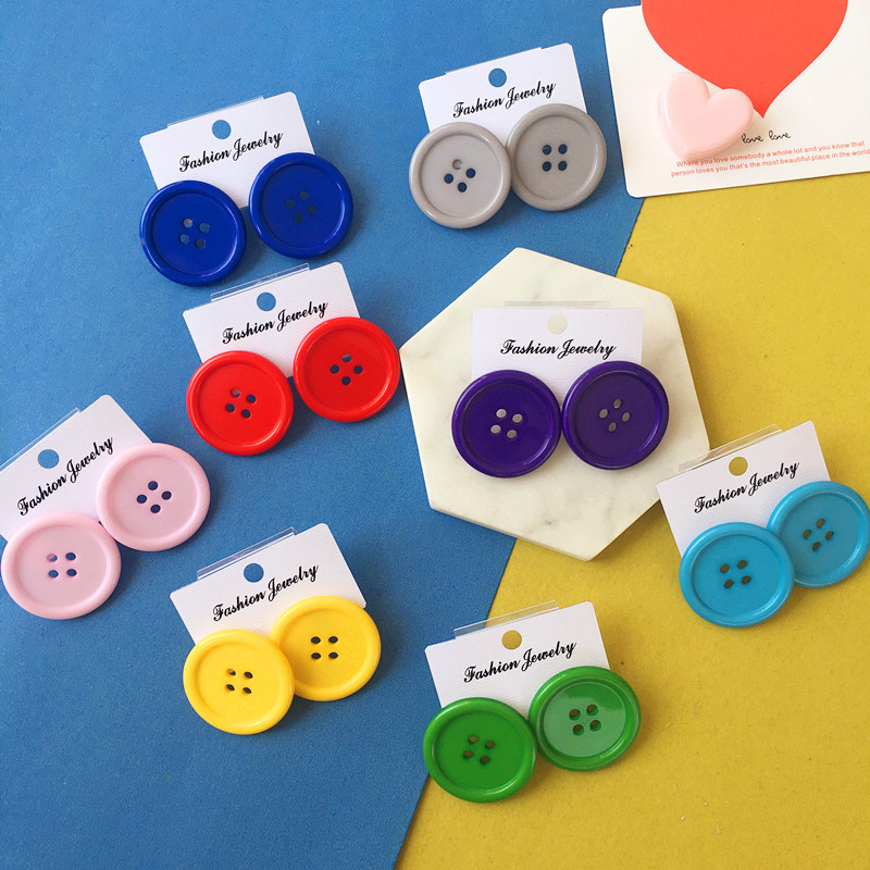 BKLD Earings Fashion Jewelry Streetwear Stud Earrings Candy Color Funny Buttons Earrings For Girls Womens Accessories 2