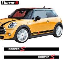 Стайлинга автомобилей сбоку юбка в полоску стикеры наклейки для Mini Cooper S R56 R57 R58 R50 R52 R53 R59 R61 Countryman R60 F60 F55 F56 F54