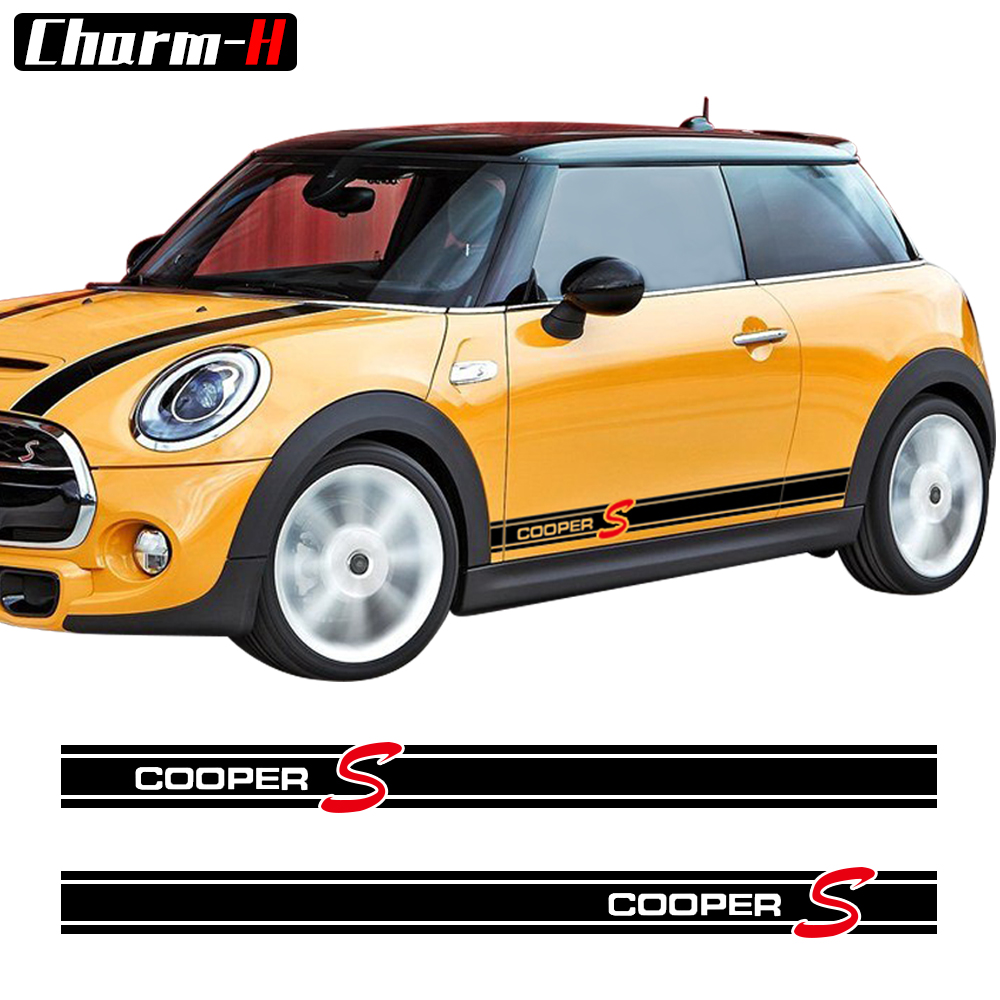 Car Styling Side Skirt Stripes Decal Stickers for Mini Cooper S R56 R57 R58 R50 R52 R53 R59 R61 Countryman R60 F60 F55 F56 F54 car styling dog decoration for skoda octavia 2 a7 a5 rapid fabia superb yeti mini cooper r56 r50 r53 f56 f55 r60 r57 accessories