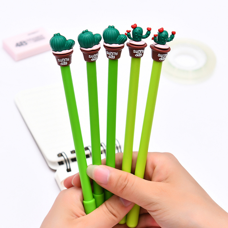 2pcs 0.5mm Blue Ink Erasable Pen Cactus Succulent Plants Gel Pen Promotional Gift Stationery Kawaii Pen School & Office Supply lovely 0 5mm jelly candy color erasable pen blue ink stationery gel pen kids prize gift office school supplies colorful random