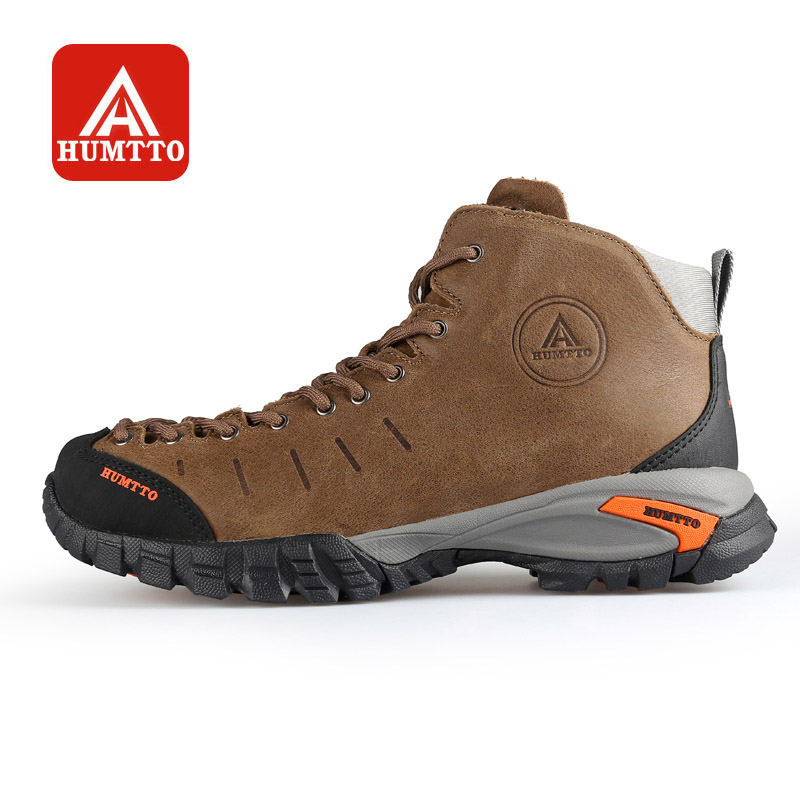 HUMTTO Hiking Shoes Men Outdoors Walking Climbing Boots Winter Camping Rubber Lace-up Waterproof Non-slip Leather Sneakers winter men s anti slip warm outdoor high top hiking sports boots fur shoes men army wearable climbing sneakers shoes camping