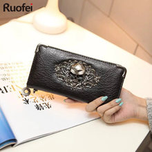 2019 Hot fashion Metal Skull Pattern PU Leather Long Wallets Women Wallets Portable Casual Lady Cash Purse Card Holder Gift A28