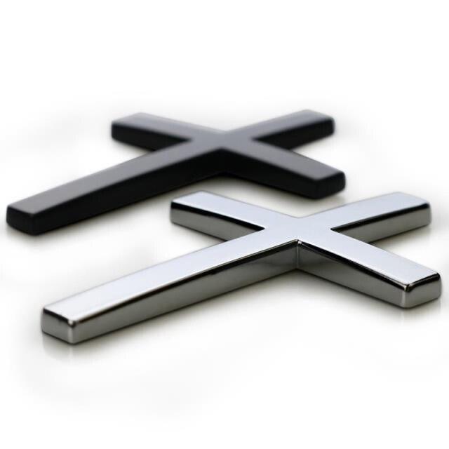 Chrome Metal Zinc The Cross Logo Badge Christian Symbol Refitting