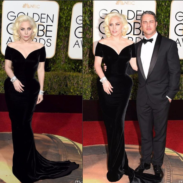 73o Golden Globe Celebridade 2016 Globo de Ouro Red Carpet Vestidos Off The Shoulder Velvet Sereia Tribunal Trem