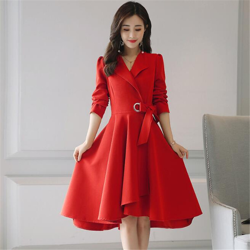 Elegant 2017 Autumn Dress Trench Coat M-2Xl Fashion Dress Red Casual Knee-Length Slim Women Dress Outwear Clothing Ma291
