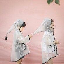 Милое белое прозрачное непромокаемое нейлоновое пальто эльфа ветрозащитное пончо для мальчиков и девочек детский дождевик для детского сада