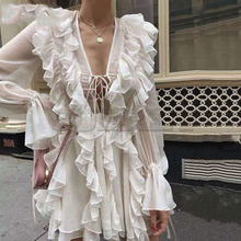 Cuerly 2019 sexy sheer ruffle dress women long sleeve boho beach mini dress streetwear female vestidos L5