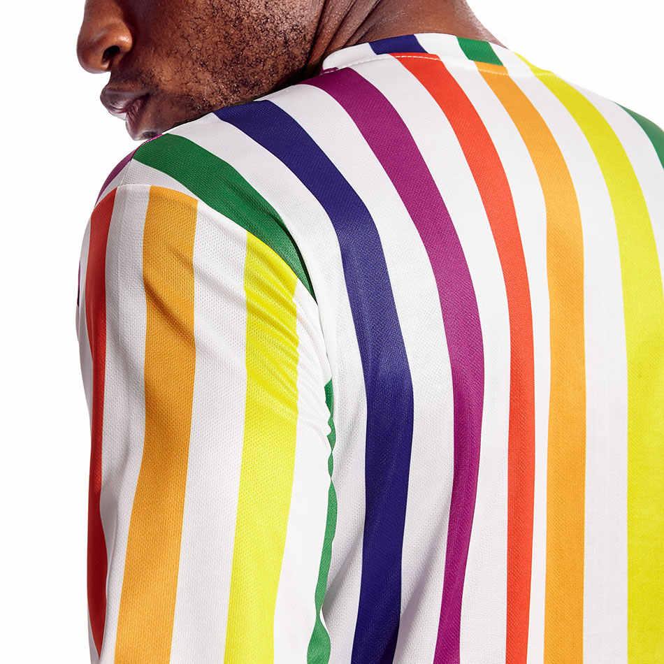 สายรุ้งลายผู้ชาย T เสื้อสีสันแนวตั้ง Stripes Tee สำหรับชายเกย์ Pride Party ด่วนแห้งแขนยาวรอบคอ boy