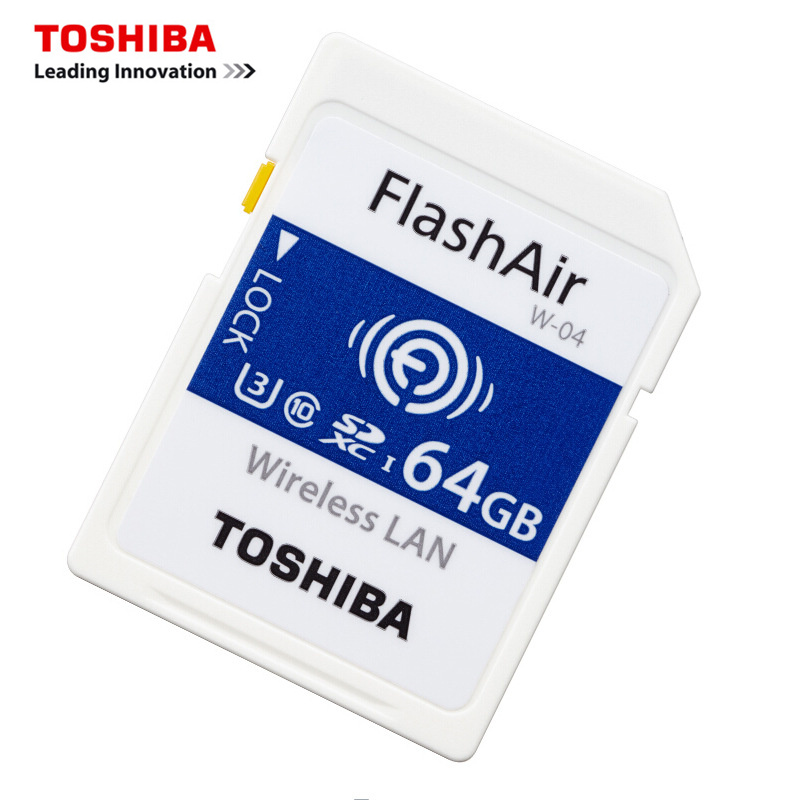 TOSHIBA WiFi Memory Card 32GB 16GB 64GB SD Card 32GB Class 10 U3 FlashAir W 04 Memory Card Flash WiFi SD Card For Digital Camera-in Memory Cards from Computer & Office