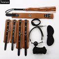 Sex Products Adult Games 7piece/ lot PVC Leather Sex Bondage Restraint,Handcuff Gag bdsm Bondage,Whip Collar Erotic Toy Sex Toy
