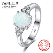 YANHUI New Design White Fire Opal Ring Fashion Jewelry Solid 925 Sterling Silver Zirconia Rings for Women RA0189