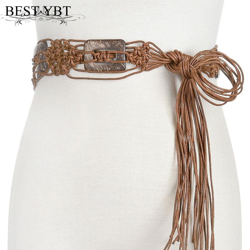 Best YBT Women Belt Ethnic Wind Wax Rope Weaving Handmade Belt Fashion Trend Women Casual Dress Decoration Belt