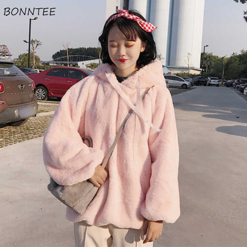 Hoodies Women Autumn Winter Trendy Ulzzang Casual Simple Solid Korean Style Kawaii Soft Loose High Quality Womens Clothing Chic
