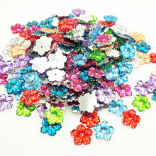 200pcs/Lot 13mm Multicolor Peony Flower Design Acrylic Rhinestone, Crystal Cabochons, Jewelry Accessories For Diy Decoration