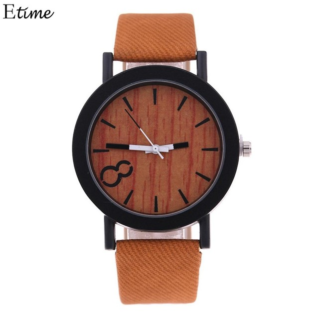 Fashion Watch Women Unisex Quartz Watches Men Eight Figure Wooden Color Case Lea