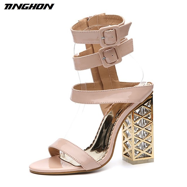 TINGHON NEW Summer Women Sandals Sexy Ankle Strap Buckle Strap 12CM high  heels Women Gladiator Sandals shoes Pumps 19e838b269b3