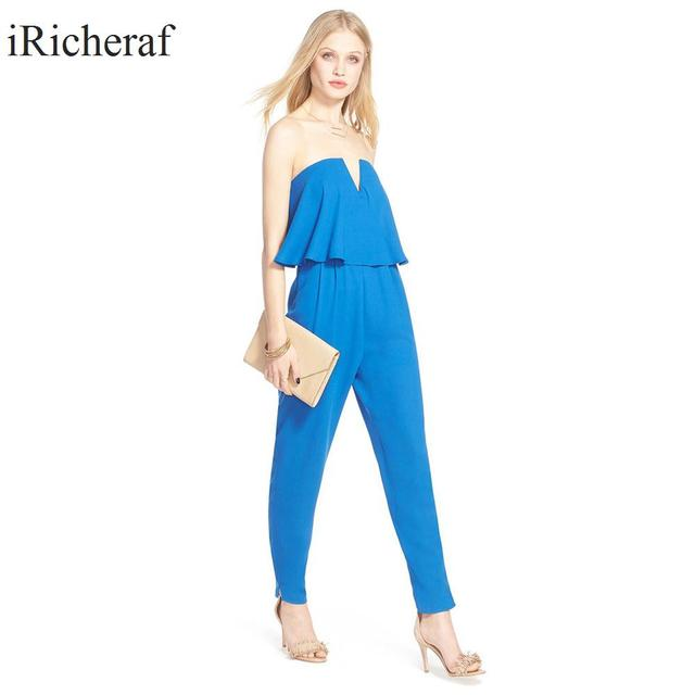 Sexy Jumpsuit Women Summer Sleeveless Ruffles Slash Neck Macacao Plus Size Loose Off Shoulder Ladies Rompers Hot Sale Black Blue