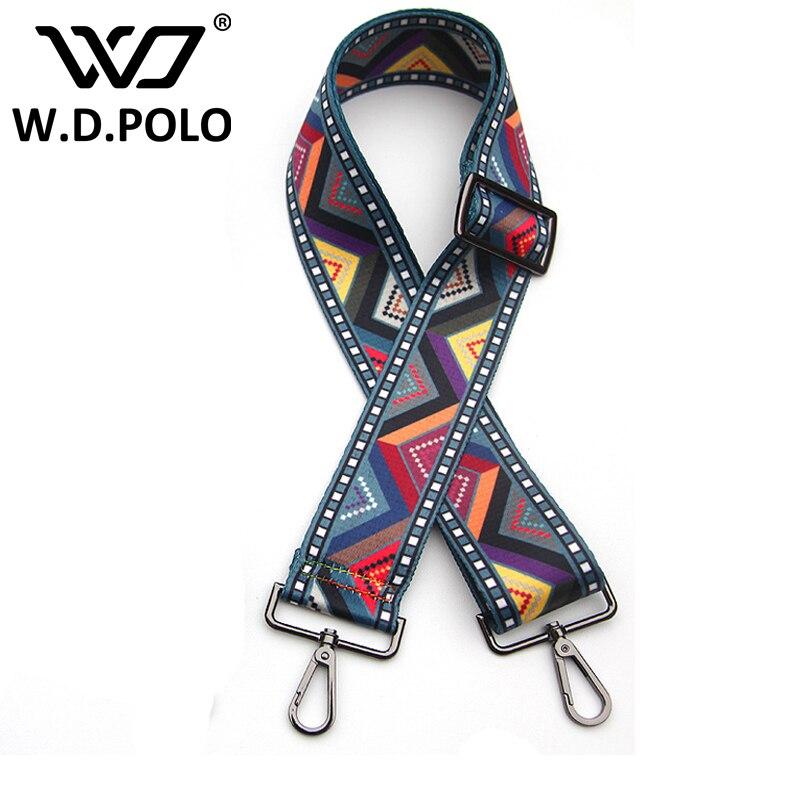 WDPOLO New handbags strap national plaid design black buckle canvas bag straps new fashion easy matching shoulder straps YY028