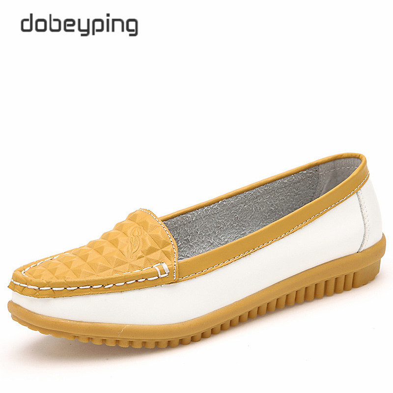 2017 New Women's Casual Shoes Cow Leather Woman Flats Shoe Moccasins Female Loafers Slip On Boat Shoes Leisure Single Footwear
