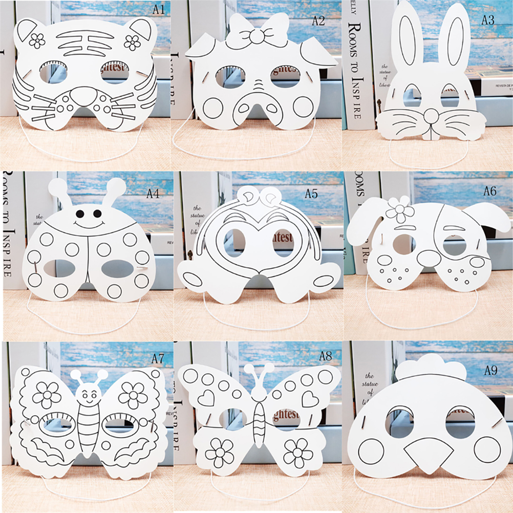 Kids DIY Color Cartoon Animal Painting Mask Kindergarten Preschool Graffiti Art Crafts Toys Creative Drawing Toys For Children