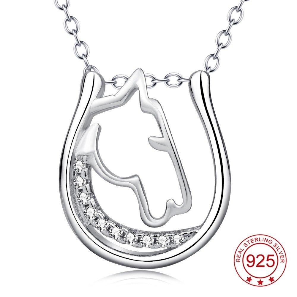 52fb89123 YFN Genuine 925 Sterling Silver Horse Head Horseshoe Hollow Pendant ...