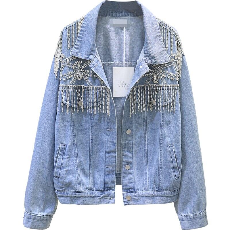 2019 printemps automne nouvelle mode denim veste femmes travail lourd perlé gland décoration lâche jeans manteau