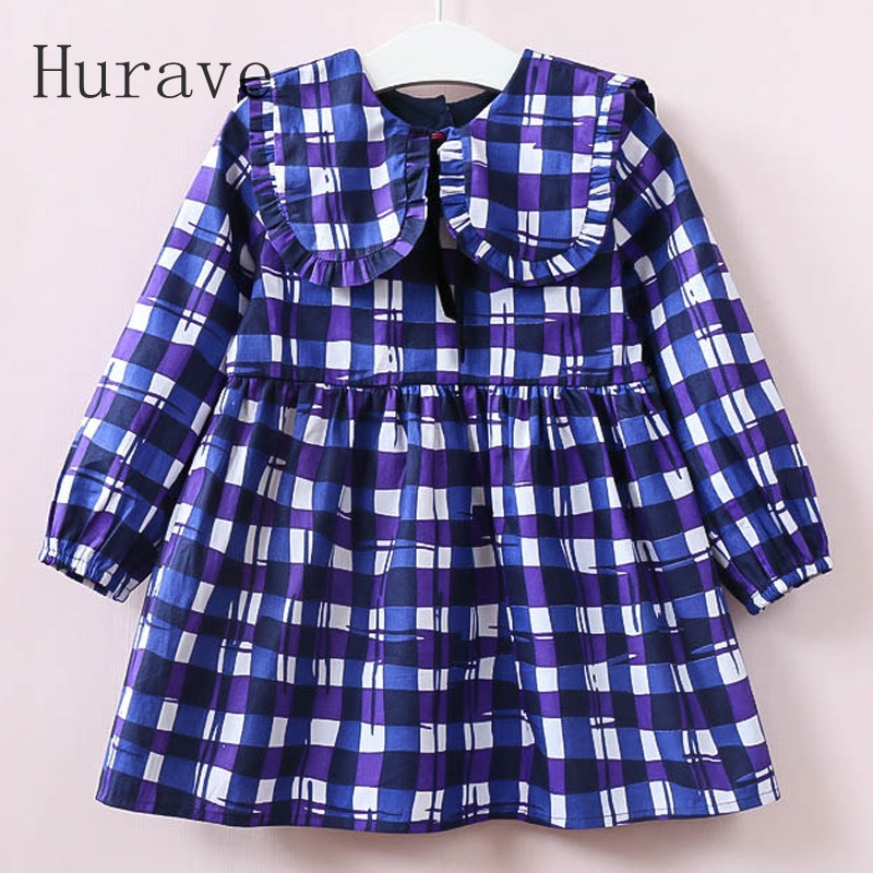 Hurave 2017 Autumn Girls Dress Square Collar Kids Plaid Dress Long Sleeve Robe Fille Casual Children