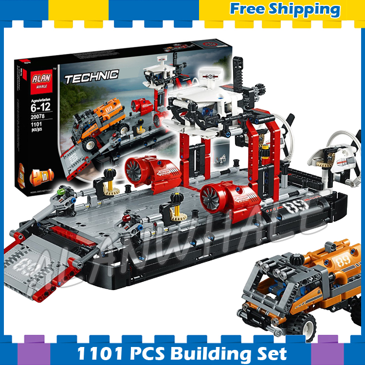 1101pcs 2in1 Techinic Hovercraft Jet Boat Ferry Expedition Truck 20078 DIY Model Building Blocks Gifts Sets Compatible With lego 1060pcs 2in1 techinic motorized heavy