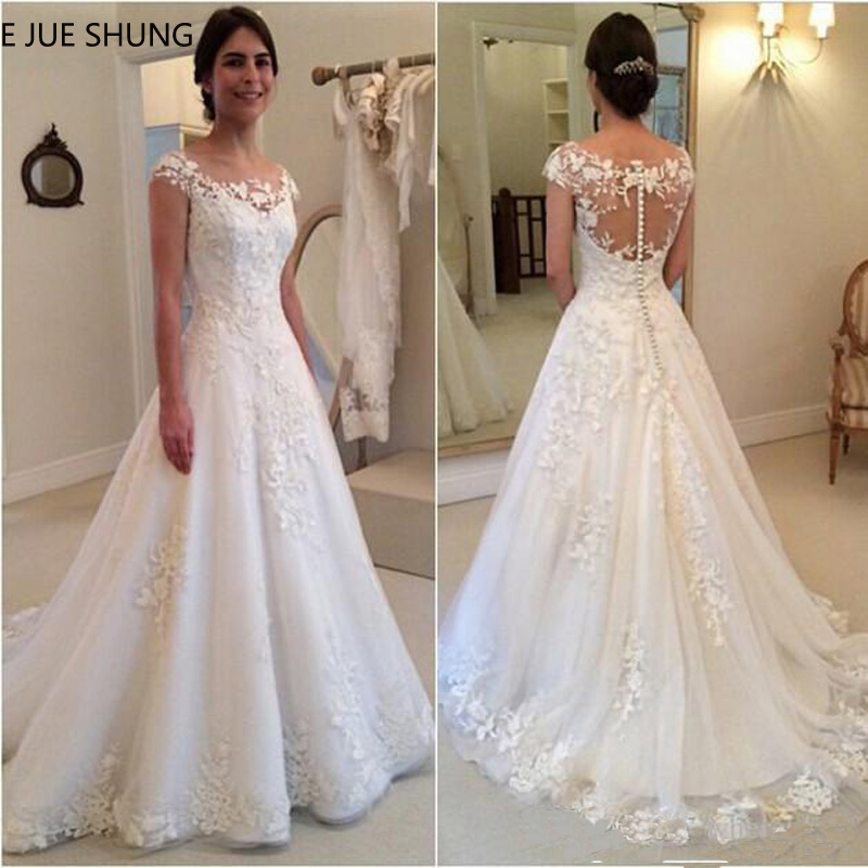 E JUE SHUNG White Vintage Lace Appliques Wedding Dresses 2020 Sheer Back Cap Sleeves Cheap Bridal Dresses Vestidos De Novia