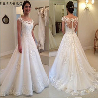 E JUE SHUNG White Vintage Lace Appliques Wedding Dresses 2019 Sheer Back Cap Sleeves Cheap Bridal Dresses vestidos de novia