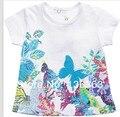 T-shirt Catimini 2014 verão Francês Catimini laceT-camisa catimini camisa Da borboleta novo estilo da menina t-shirt de manga curta t