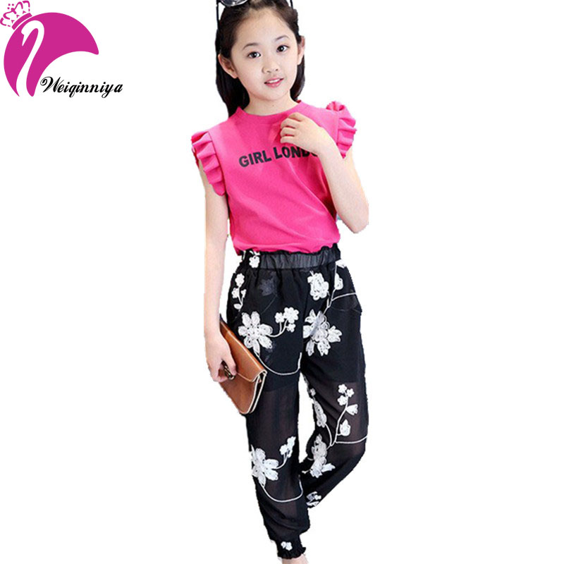 Children Girls Sets New 2017 European Style Fashion Summer Kids Clothing Sets Cool Chiffon Vest+Floral Pants Clothes Suits Hot new next fall girls graffiti sets european and american style printing zipper cardigan cartoon princess hot sale children s sets