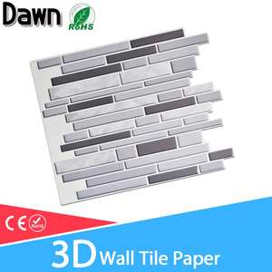Wall paper 3D Marble Mosaic Peel and Self-adhesive Wall Stickers Waterproof for Kitchen Bathroom Home Wall Decal Sticker Vinyl